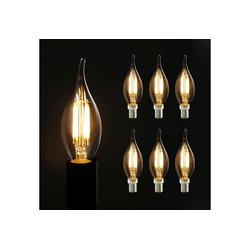 ZMH 6X Edison Glühbirne E14 4W, Retro Dekorative Kerzenbirne, C35L Warmweiß Antike Kerzenlampe LED-Leuchtmittel