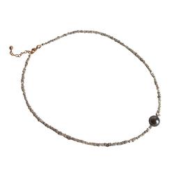Gemshine Perlenkette Diamanten und Tahiti Graue Zuchtperle, Made in Germany