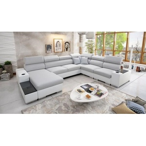 Ecksofa Wohnlandschaft Piano Abstellfläche Polstersofa Couch XXL Sofa Groß 26
