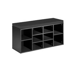 tectake Schuhschrank Schuhschrank mit Sitzkissen schwarz