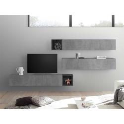 Fernseher Anbauwand in Beton Grau und Dunkelgrau hängend (5-teilig)