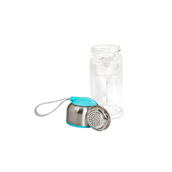 HTI-Line Trinkflasche Trinkflasche Glas mit Einsatz, Trinkflasche blau