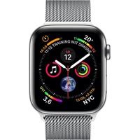 Apple Watch Series 4 (GPS + Cellular) 40mm Edelstahlgehäuse silber mit Milanaise Armband silber