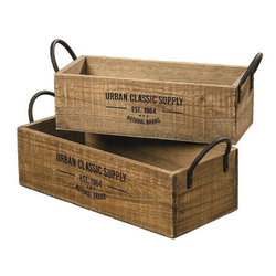 Meinposten Dekokiste braun Dekokiste shabby Kiste Obstkiste Holz Deko Landhaus mit Griffen 41 cm x 16 cm x 15 cm