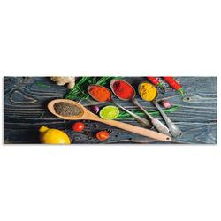 Artland Küchenrückwand Gewürze in Metalllöffeln, (1-tlg) 160 cm x 50 cm x 0,3 cm