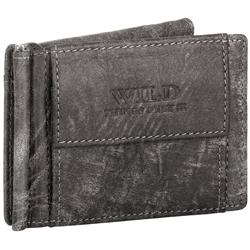 BAG STREET Geldbörse, Geldklammer Echt Leder RFID-Schutz mit Münzfach Geldclip Portemonnaie Geldbeutel grau