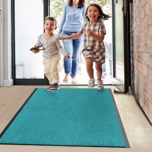 Floordirekt Schmutzfangmatte Monochrom | viele Größen, viele Farben | Länge auf Maß | rutschfeste waschbare Fußmatte (Türkis, 120 x 100 cm)