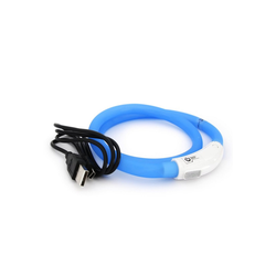 PRECORN Hunde-Halsband LED USB Halsband Hund Silikon Hundehalsband Leuchthalsband für Hunde aufladbar per USB (Größe S-L auf 18-65 cm individuell kürzbar), Silikon blau