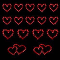 16 Herz Sticker Strass Steine Aufkleber Hochzeit Deko - rot