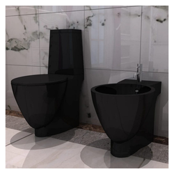 vidaXL Bidet vidaXL Keramik Toilette & Bidet Set Schwarz schwarz