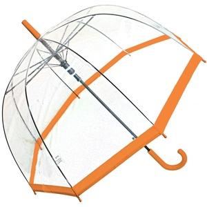 Regenschirm transparent durchsichtig Automatik Stockschirm Glockenschirm orange