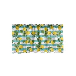 Scheibengardine Vorhang Volant für Küche Schlafzimmer Dekor mit Stangentasche, Abakuhaus, Zitronen Zitronenblüten Blätter Kunst 137 cm x 45 cm