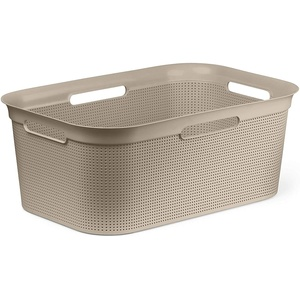 Rotho Brisen Wäschekorb 40l mit 4 Griffen, Kunststoff (PP) BPA-frei, cappuccino, 41l (59,6 x 39,6 x 23,2 cm)