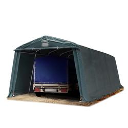 Toolport Zeltgarage 3,3x7,7m PVC 500 g/m² dunkelgrün wasserdicht Garagenzelt