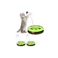 relaxdays Tier-Kugelbahn 3 x Katzenspielzeug mit Maus grün, Kunststoff
