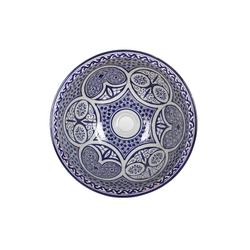 Casa Moro Waschbecken Mediterranes Keramik-Waschbecken Fes108 rund Ø 40cm blau-weiß H 18 cm Handmade Waschschale, Marokkanisches Handwaschbecken für Bad Waschtisch Gäste-WC Badezimmer, WB40318, Handmade
