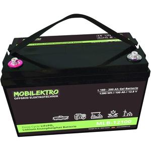 MOBILEKTRO LiFePO4 100Ah 12V 1280Wh Lithium Versorgungsbatterie mit BMS - EQ 160Ah - 200Ah AGM oder GEL Aufbaubatterie für Wohnmobil, Boot, Camping oder Solaranlage