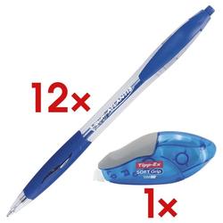 12x Kugelschreiber »Atlantis Classic« blau inkl. Einweg-Korrekturroller »Soft Gr blau, BIC