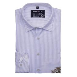 MARVELIS Streifenhemd Hemd - Casual - Streifen mit Druck - Hellblau mit Print M