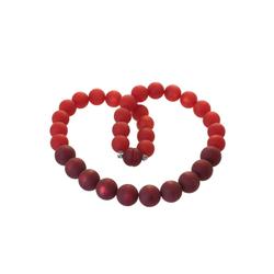 Bella Carina Perlenkette Kette mit Polaris Perlen rot 14 - 16 mm, Magnetverschluss 45 cm