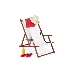 relaxdays Gartenliege Liegestuhl Holz klappbar