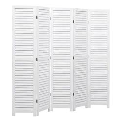 vidaXL Raumteiler vidaXL 5-tlg. Raumteiler Weiß 175×165 cm Holz