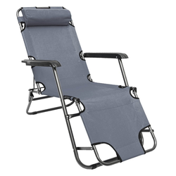AMANKA Campingliege Campingstuhl Liegestuhl Freizeitliege Sonnenliege Campingliege Liege 153 cm Grau