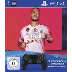 Sony Computer Entertainment PS4 Dualshock 4 Wireless-Controller (Jet Black) + FIFA 20 Controller Pla