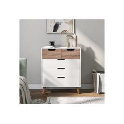Masbekte Kommode (Sideboard), Nachttisch mit 5 Schublade, Schubladenschrank Schubladenkommode, Eiche 70*40*83cm