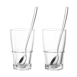 LEONARDO Gläser-Set Senso Kaffeeglas / Löffel Set, 4-tlg., Glas