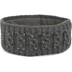 styleBREAKER Stirnband Stirnband mit Zopfmuster & Strass Stirnband mit Zopfmuster & Strass grau