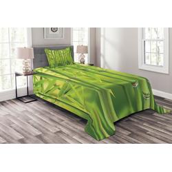 Tagesdecke Set mit Kissenbezügen Waschbar, Abakuhaus, Grün Bambussprosse Stem Wald 170 cm x 220 cm