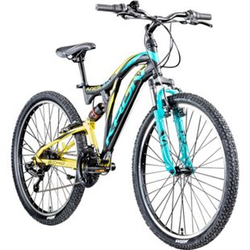 Kron Ares 3.0 26 Zoll Mountainbike Jugendfahrrad Fully MTB Jugendrad Fahrrad... schwarz/gelb/türkis