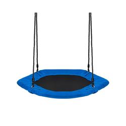 COSTWAY Nestschaukel Baumschaukel Hängeschaukel Tellerschaukel, 100-160cm verstellbaren Seil, 150kg Tragkraft blau
