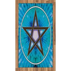 Teppich Flachgewebe Deko-Teppiche für das Wohn-,Schlaf-, und Essenszimmer, Abakuhaus, rechteckig, Pentagramm interlaced Pentagram 80 cm x 150 cm
