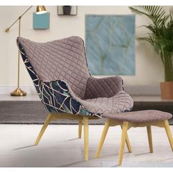 INOSIGN Sessel Duke Print, Karoprägung im Sitzbereich und Dekostoff auf der Rückseite rosa