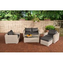 CLP Gartenmöbelset Gartengarnitur Madeira 2-1-1, Gartenmöbel-Set mit Polsterauflagen weiß
