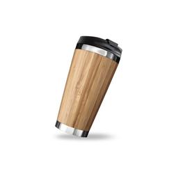 PRECORN Coffee-to-go-Becher Coffee to go Becher stylisch 450 ml aus Edelstahl Bambus Kaffeebecher to go 100% Auslaufsicher Umweltfreundlich