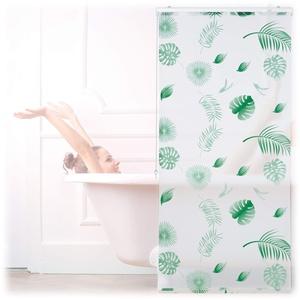 Relaxdays Duschrollo Blätter, 80x240cm, Seilzugrollo für Dusche & Badewanne, wasserabweisend, Decke & Fenster, weiß/grün