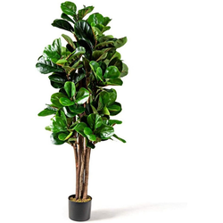 Kunstpflanze Künstlicher Feigenbaum Kunstbaum Deko Pflanze Zimmerpflanze, COSTWAY, mit Blumentopf