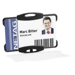DURABLE Ausweishalter für einen Betriebsausweis, Ausweishalter in offener Ausführung, 1 Packung = 10 Stück, Farbe: schwarz