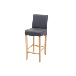 MCW Barhocker MCW-C33, Angenehme Polsterung, Stabile Beine aus Holz grau