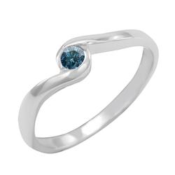 Goldener Verlobungsring mit blauem Diamant Izis