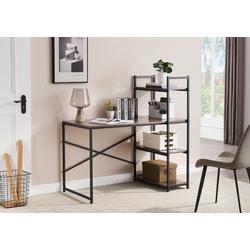 HomeGuru Schreibtisch Schreibtisch mit 3 Regale, Industrie-Design, Vintage, 121,8*75-120*60 cm 121.8 cm x 120 cm x 60 cm