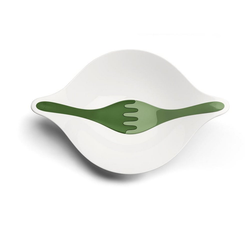 KOZIOL Salatschüssel Leaf L+ mit Besteck Grün