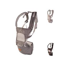 Cangaroo Babytrage Babytrage I Carry 5 in 1, Bauch- Rückentrage abnehmbarer Sitz, Gürtel grau