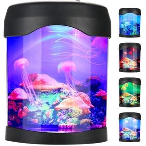 Pomya Mini-Aquarium, Multifunktionaler USB-Aquarium-Lichtpult Mini-Aquarium Stimmung Led-Beleuchtung Farbwechsel Nachtlampe , Led-Aquarium