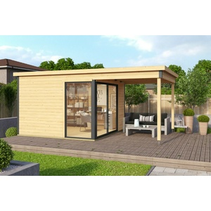 44mm Gartenhaus 524x320cm + Schiebetür + Fußboden Gerätehaus Holzhütte Holz Haus