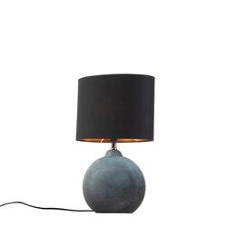Tischlampe blau mit schwarzem Schirm 23 cm - Cleo