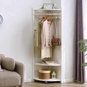 Massivholz Eckgarderobe Boden stehend Mit 2-stufigen Lagerregalen Europäische Kleiderständer Für Schlafzimmer Wohnen,White-M